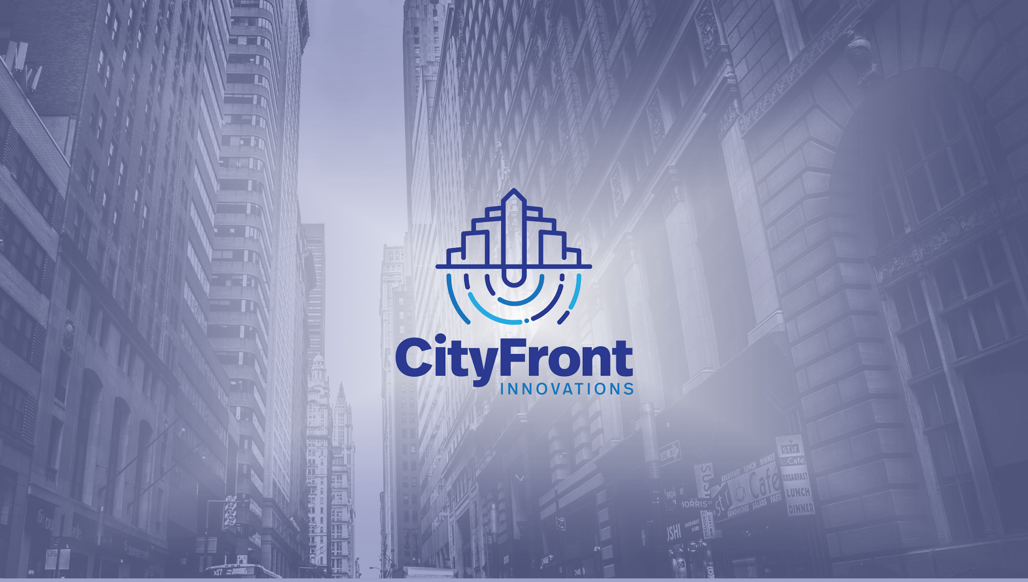 A photo of a large cityscape with the CityFront logo